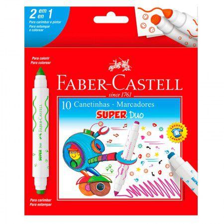 Canetinha Hidrocor Faber-Castell Super Duo 10 cores duas pontas