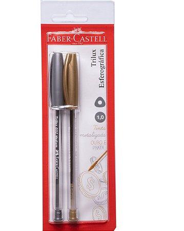 Caneta Esferográfica Trilux Metalizada 2 peças Faber-Castell