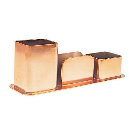 Porta Canetas/Clips/Lembretes DelloColor Rosê Gold 3031.RG