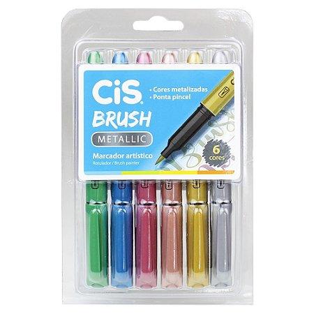 Caneta Marcador Artístico Cis Brush Metallic 6 cores