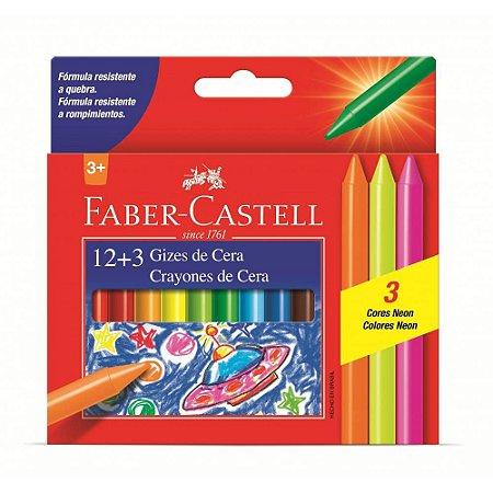 Giz de Cera 12 Cores + 3 Cores Neon Faber-Castell