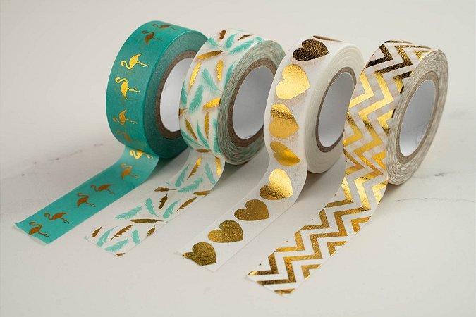 Fita Adesiva Washi Tape Metalizada 15mmx10m