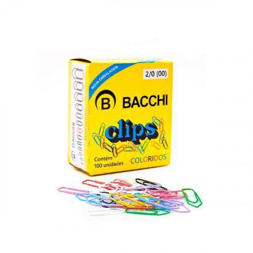 Clips Colorido 2/0 Bacchi caixa com 100 un
