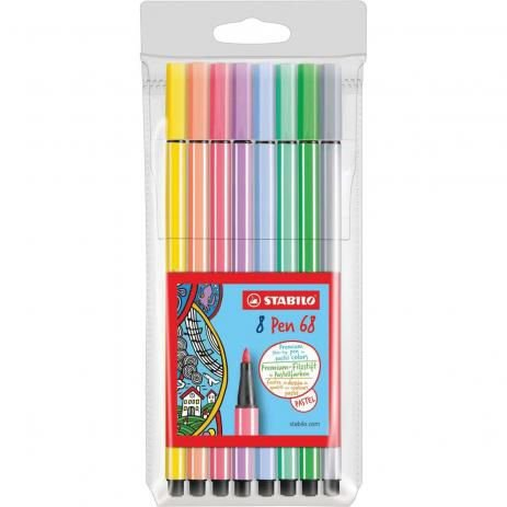 Caneta Stabilo Pen 68 Estojo com 8 cores Pastel 68/8-01
