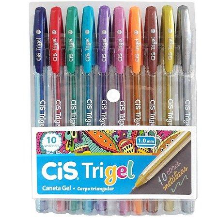 Caneta Gel Cis Trigel Metálica 1.0mm Estojo com 10 cores