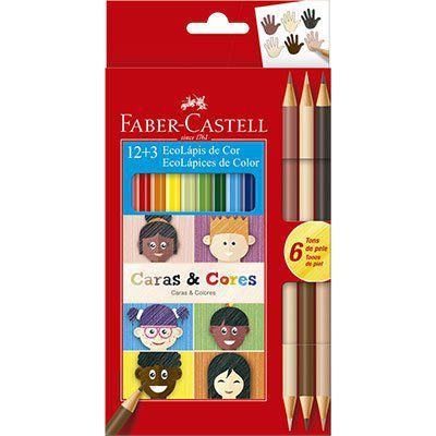 Lápis de Cor 12 cores + 6 Tons de Pele Caras e Cores Faber-Castell