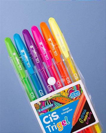 Caneta Gel Trigel Cis estojo com 6 cores Neon