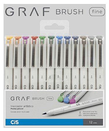 Caneta Cis Graf Brush Fine Ponta Pincel estojo com 12 cores