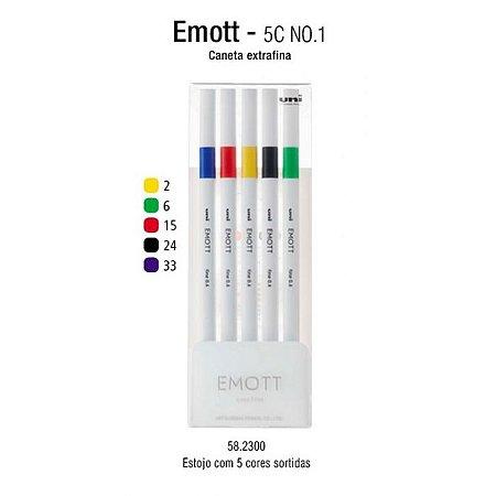 Caneta Emott Ever Fine 0.4mm N1 Estojo com 5 Cores