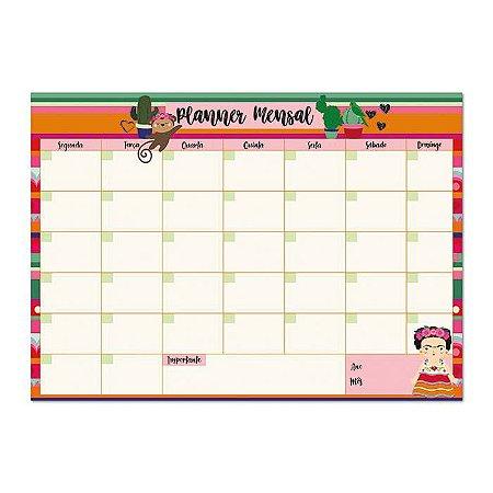 Bloco Planner Mensal Frida Kahlo Color 24 folhas