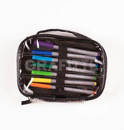 Estojo Box Transparente Glitter Kit
