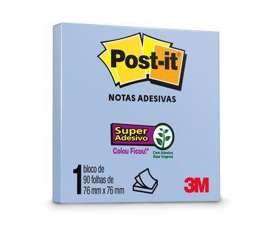 Bloco Adesivo Post-it 654 Azul 76x76mm 90 Folhas