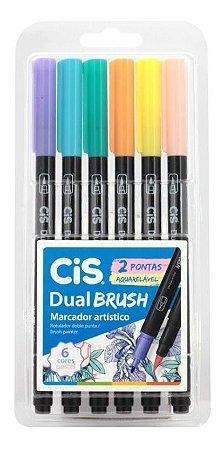 Caneta Cis Dual Brush 2 Pontas Aquarelável 6 cores Pastel