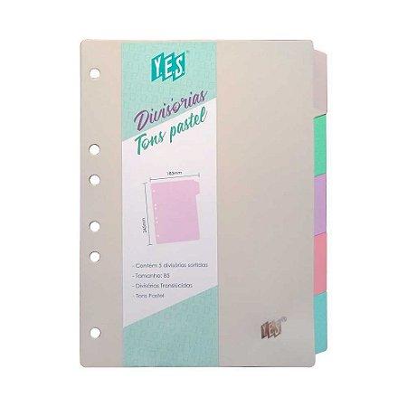 Divisória para Fichário B5 Tons Pastel YES 5DV
