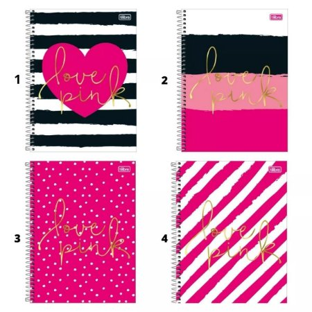 Caderno Espiral Capa Dura 1/4 Love Pink 80 Folhas Tilibra
