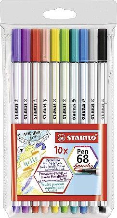 Caneta Brush Stabilo Pen 68 Estojo com 10 cores