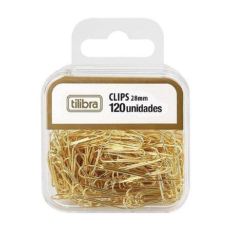 Clips Dourado 28mm Tilibra 120 unidades