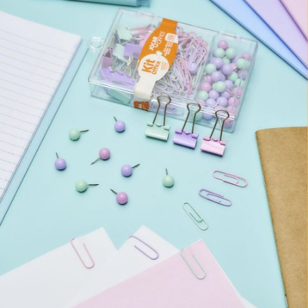 Kit Prendedores Office Pastel Trend 150pc