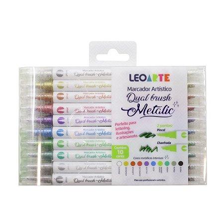 Marcador Artístico Dual Brush Metalic 10 cores LeoArte