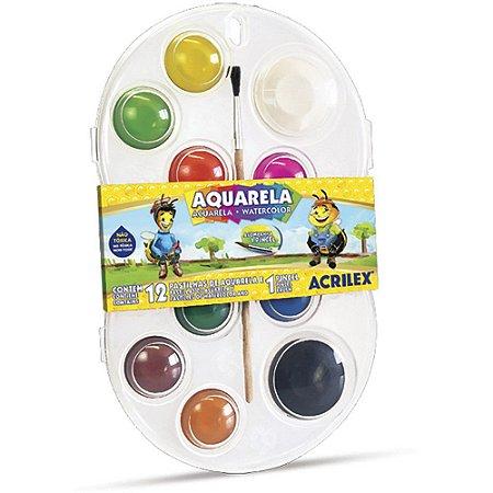 Aquarela Escolar Acrilex 12 cores