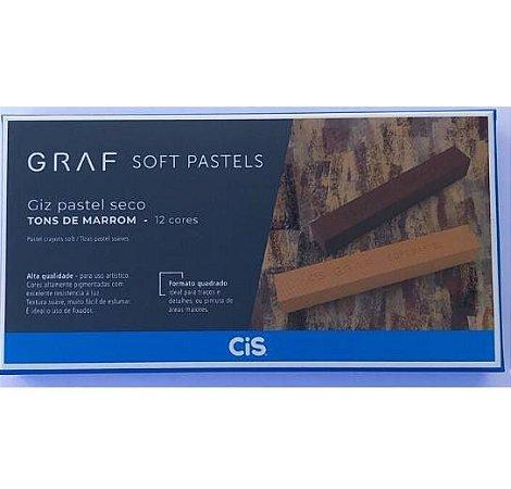 Giz Pastel Seco Cis Graf Tons Marrom 12 Cores