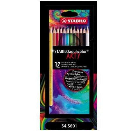 Lápis de Cor Aquarelável Stabilo Aquacolor Arty 12 cores