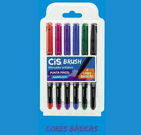 Caneta Brush Pen Cis Aquarelável Cores Básicas 6 cores
