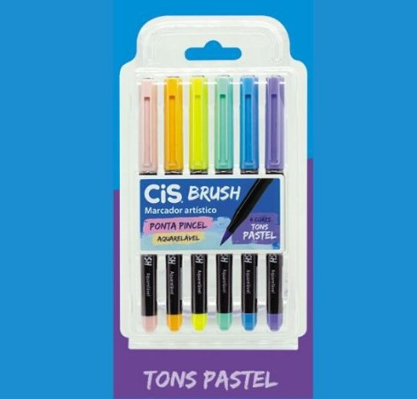 Caneta Brush Pen Cis Aquarelável Tons Pastel 6 cores