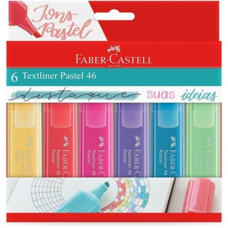 Marca Texto Textliner 46 Pastel 6 cores Faber-Castell