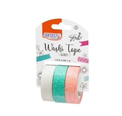 Washi Tape Glossy com glitter 3 rolos BRW