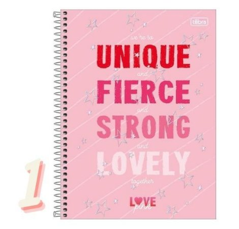 Caderno Espiral Universitário 1 Matéria Love Pink 80 Folhas Tilibra