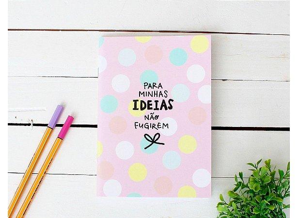 Caderno Flex Mini Pastel Poá Pautado 40 folhas 14x20cm