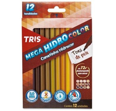 Caneta Hidrocor Tons de Pele Tris 12 cores