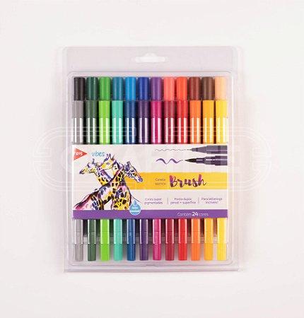 Caneta Brush Pen Sketch Tris 24 cores