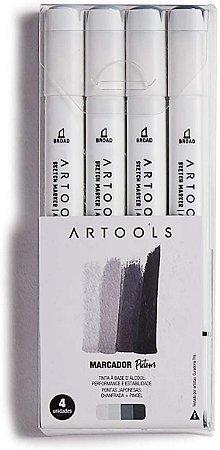 Caneta Marcador Pictom Brush Tons de Cinza Frios Artools 4un