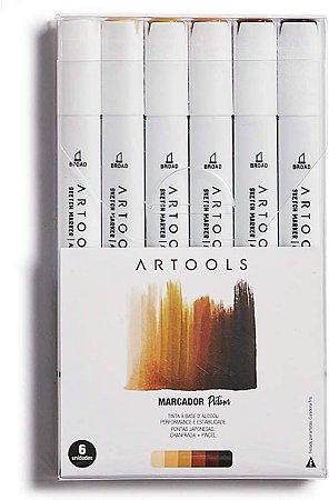 Caneta Marcador Pictom Brush Tons de Pele Artools 6un
