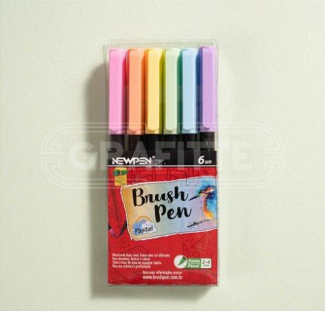Caneta Brush Pen Pastel Newpen 6 cores