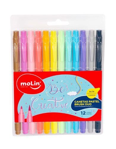Estojo Caneta Pastel Brush Duo Molin 12 cores