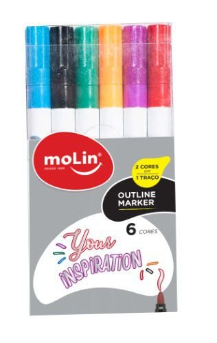 Marcador Metálico Outline Molin 6 cores