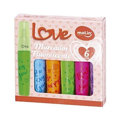 Marca Texto Love Heart Molin Neon 6 cores
