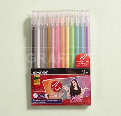 Caneta em Gel Hashi Newpen 12 cores