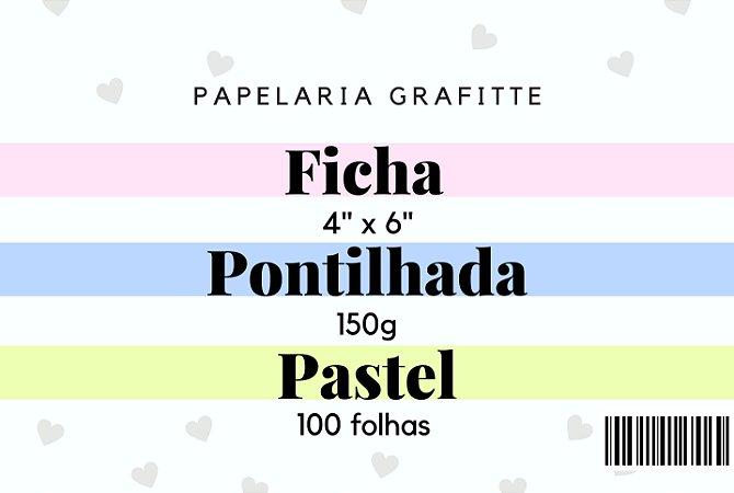 Ficha Pontilhada Pastel 4x6 100 folhas