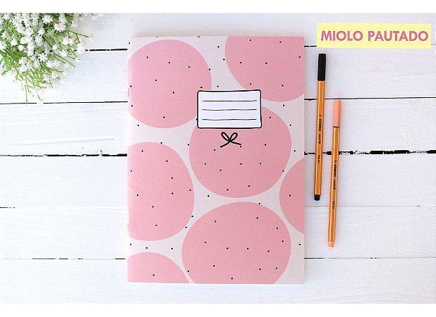 Caderno Flex Maxi Pautado Bolinhas Rosas 40 folhas