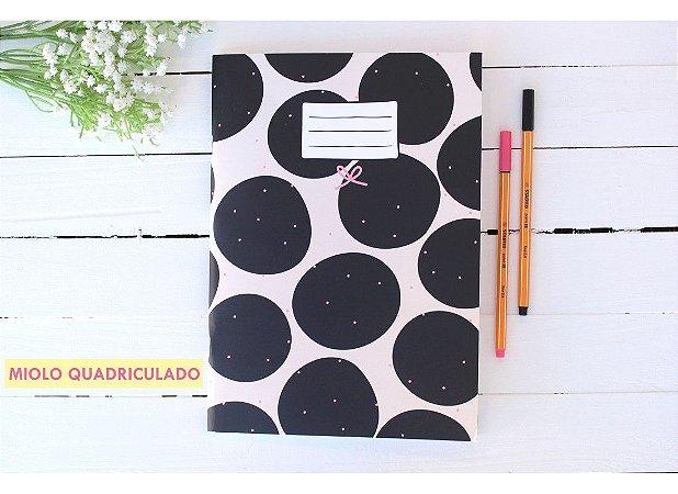 Caderno Flex Maxi Quadriculado Bolinhas Pretas 40 folhas