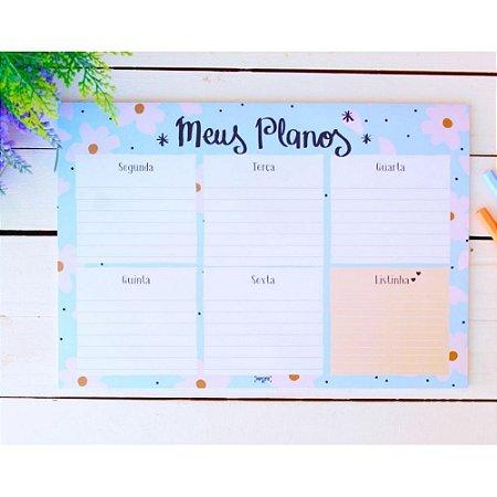 Bloco Planner Meus Planos Flores 25 folhas