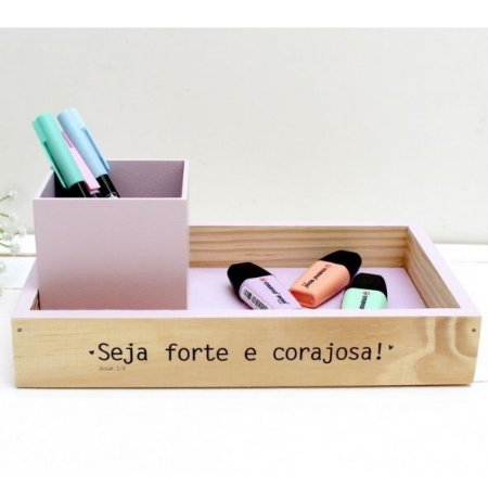 Porta Lápis + Bandeja Seja Forte Papelote