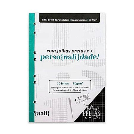 Bloco P/ Fichário Preto Colegial/B5 Quadriculado Nalí