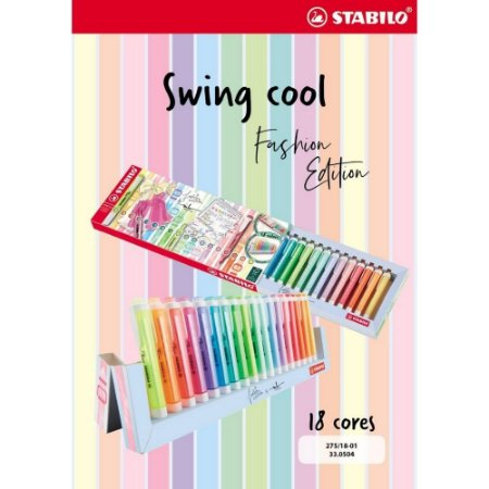 Caneta Stabilo Swing Cool Fashion Edition c/18 cores