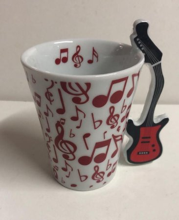 Caneca Musica com Alça de Guitarra Vermelha