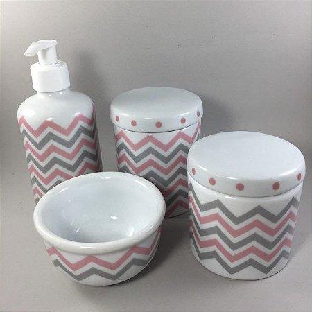 Kit Higiene Bebê 4 peças Chevron ( 4 cores )